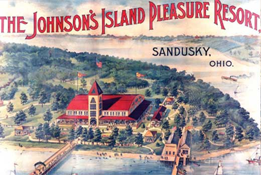 Artist's conception of The Johnson's Island Pleasure Resort. The Marblehead Peninsula is in the background. The Confederate Cemetery is on the lower right side, outside of the image.